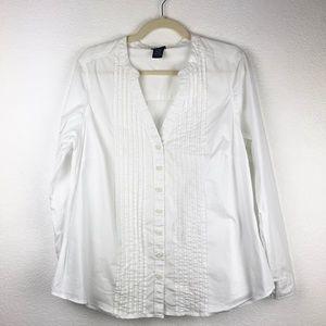 Torrid White Button V-neck Long Sleeve Blouse